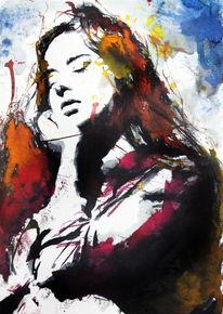 Farben, Frau, Ausdruck, Aquarell