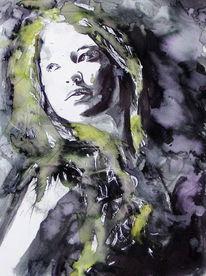 Portrait, Frau, Haare, Blick