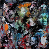 Gesicht, Menschen, Farben, Mixed media