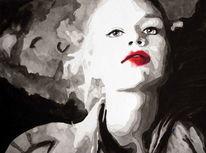 Frau portrait, Blick, Mund, Rot