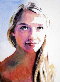 Frau, Haare, Ausdruck, Aquarellmalerei