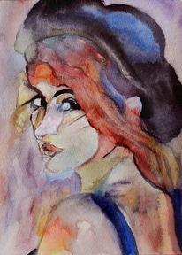 Menschen, Frau, Blick, Aquarellmalerei