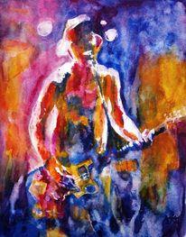 Musik, Aquarellmalerei, Gitarre, Licht