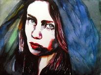 Mädchen, Gesicht, Aquarellmalerei, Portrait