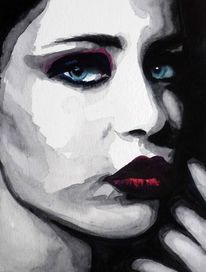 Frau, Lippen, Aquarellmalerei, Mund
