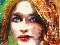 Frau, Haare, Blick, Gesicht