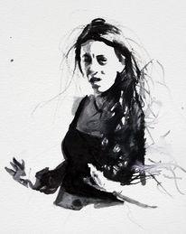 Frau, Monochrom, Ausdruck, Aquarellmalerei