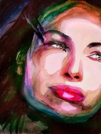 Portrait, Farben, Frau, Blick