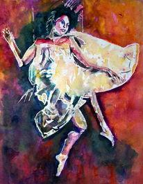 Liegen, Aquarellmalerei, Kleid, Frau