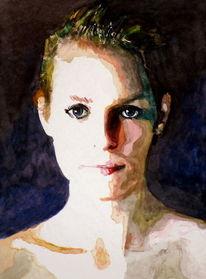 Aquarellmalerei, Licht, Schatten, Frau