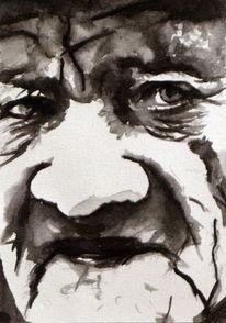 Mann, Gesicht, Blick, Monochrom
