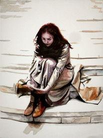 Ausdruck, Aquarellmalerei, Frau, Menschen