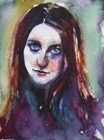 Aquarellmalerei, Frau, Blick, Mädchen