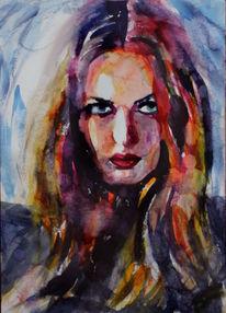 Frau, Haare, Portrait, Aquarellmalerei