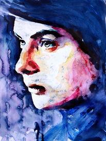 Ausdruck, Aquarellmalerei, Blick, Gesicht