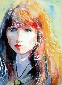 Blick, Aquarellmalerei, Frau, Farben