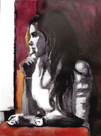 Aquarellmalerei, Frau, Blick, Portrait