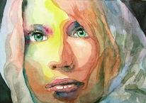 Portrait, Augen, Frau, Mund