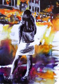 Frau, Straße, Stadt, Farben