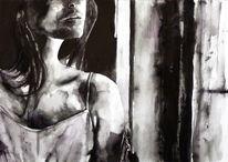 Weiß, Aquarellmalerei, Frau, Monochrom