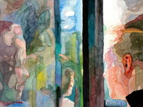 Frau, Mädchen, Licht, Spiegelung