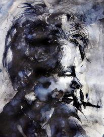 Frau, Portrait, Monochrom, Mischtechnik