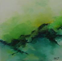 Grün, Landschaft, Acrylmalerei, Abstrakt