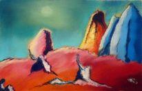 Berge, Bunt, Abstrakt, Malerei