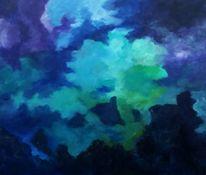 Berge wolken blau, Malerei, Berge