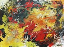 Abstrakt, Rot gelb blau, Malerei