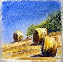 Stroh, Pastellmalerei, Acker, Sommer
