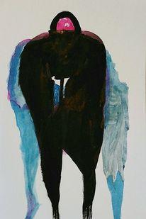 Tuschmalerei, Malerei, Surreal, Mann