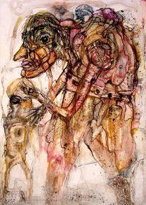 Menschen, Ölmalerei, Tusche, Zeichnungen