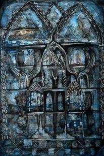 Gotik, Fenster, Signatur, Malerei
