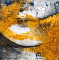 Grau und schwarz, Mischtechnik, Orange, Malerei abstrakt 2012