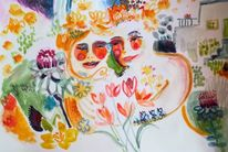 Blumen, Paar, Garten, Aquarell