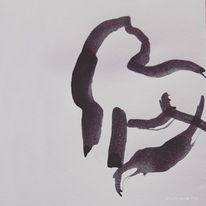 Tuschmalerei, Warten, Katze, Illustrationen