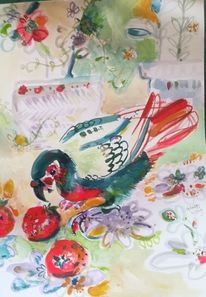 Papagei, Erdbeeren, Essen, Hunger
