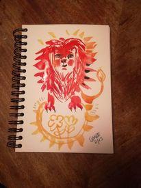 Löwe, Rot, Raubtier, Aquarell