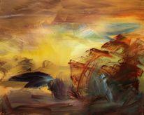 Natur, Acrylmalerei, Berge, Sturm