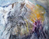 Berge, Welle, Acrylmalerei, Stein