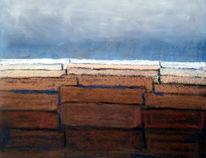 Abstrakt, Landschaft, Braun, Blau