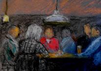 Rund, Menschen, Tisch, Malerei