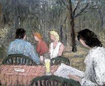 Frühling, Cafe, Menschen, Malerei