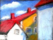 Himmel, Dach, Haus, Malerei