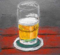 Tisch, Glas, Bier, Malerei