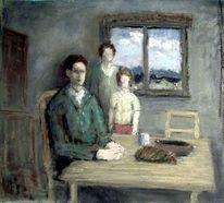 Familie, Menschen, Haus, Malerei