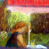 Frau, Sommer, Garten, Malerei
