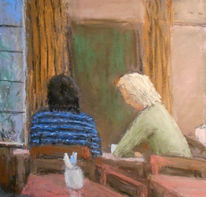 Gespräch, Cafe, Malerei