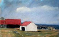Häuser, Feld, Himmel, Malerei